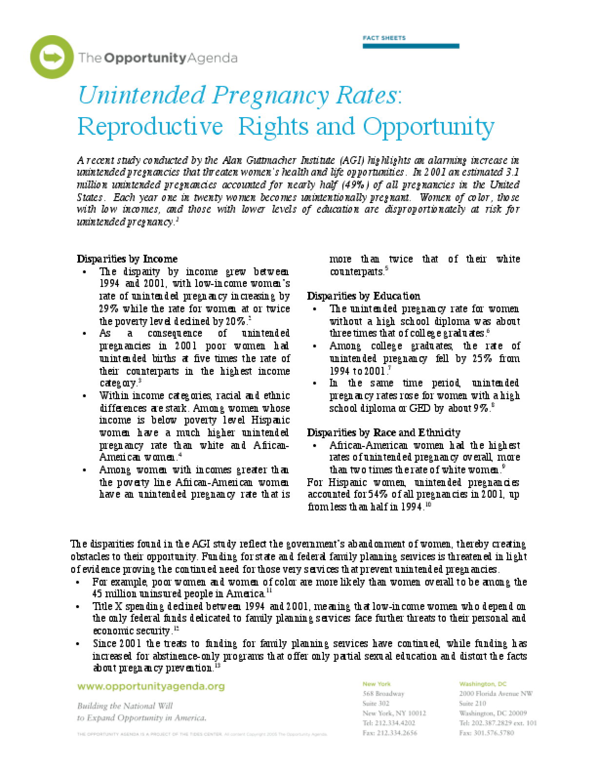 Unintended Pregnancies and Opportunity