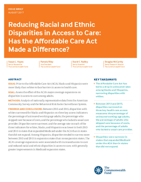 Reducing Racial and Ethnic Disparities in Access to Care: Has the Affordable Care Act Made a Difference?
