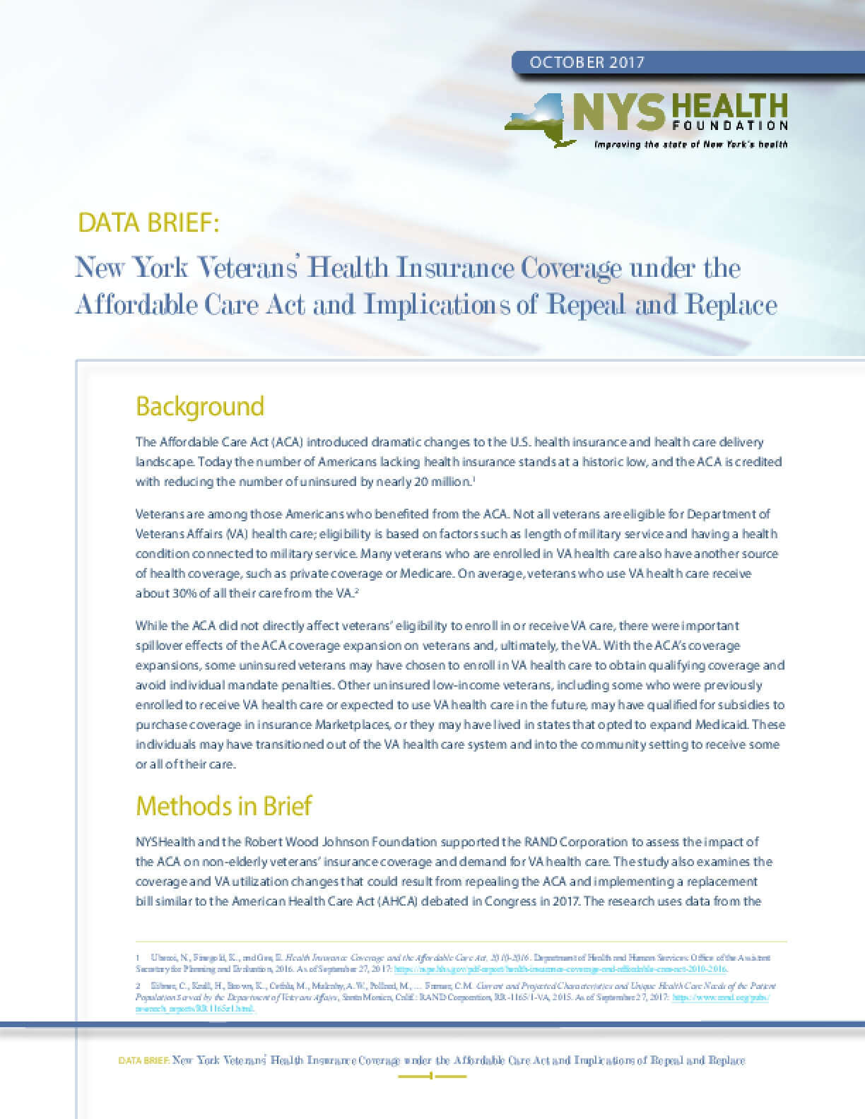 New York Veterans' Health Insurance Coverage under the Affordable Care Act and Implications of Repeal and Replace