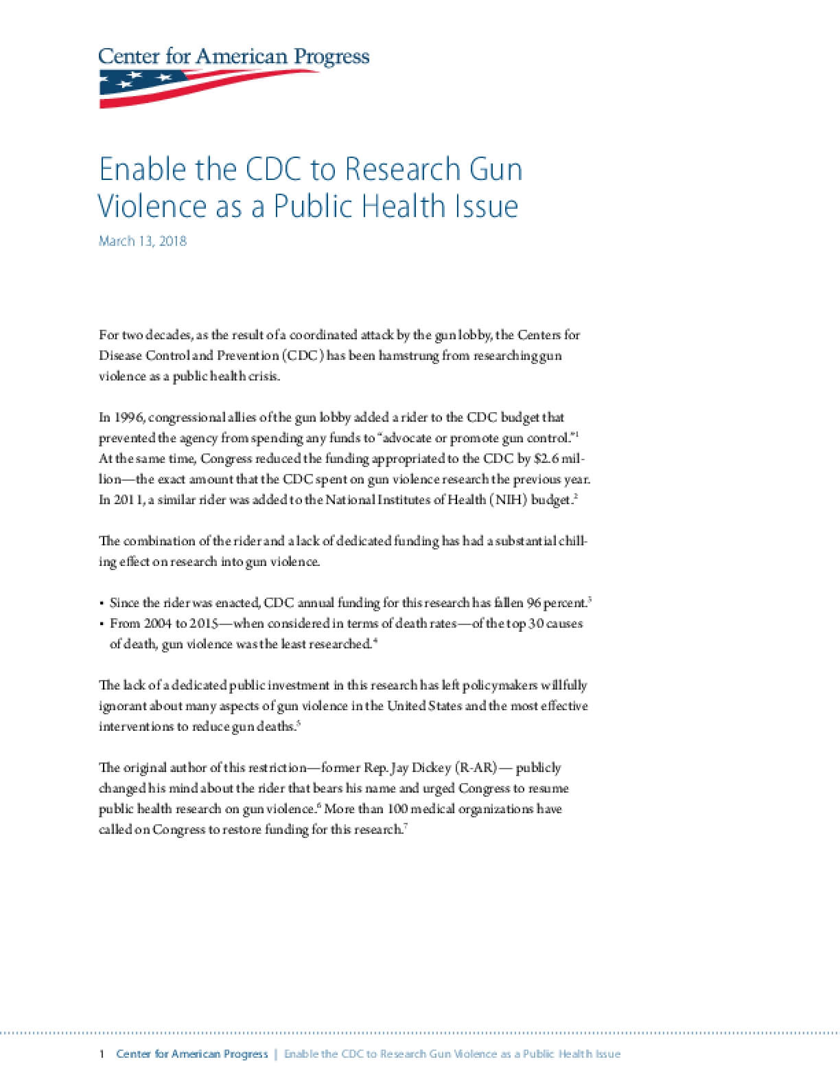 Enable the CDC to Research Gun Violence as a Public Health Issue