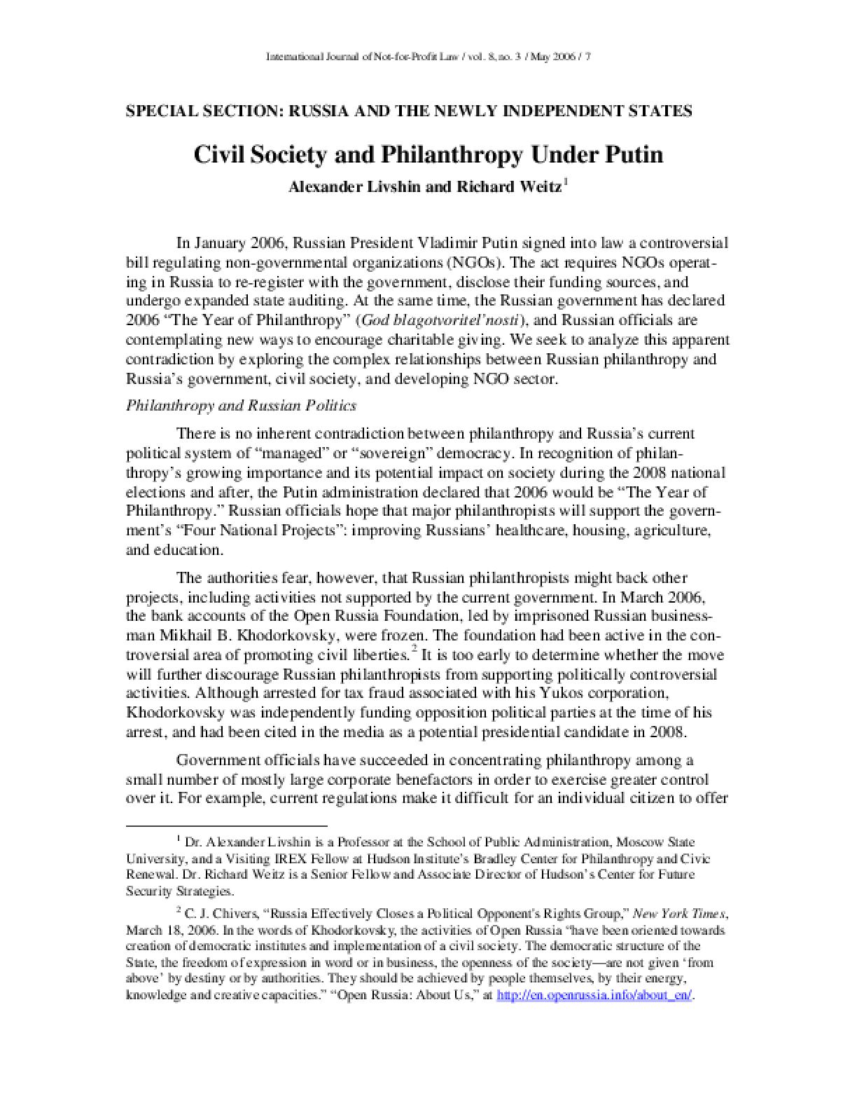 Civil Society and Philanthropy Under Putin