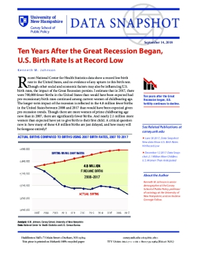 Data Snapshot: Ten Years After the Great Recession Began, U.S. Birth Rate Is at Record Low