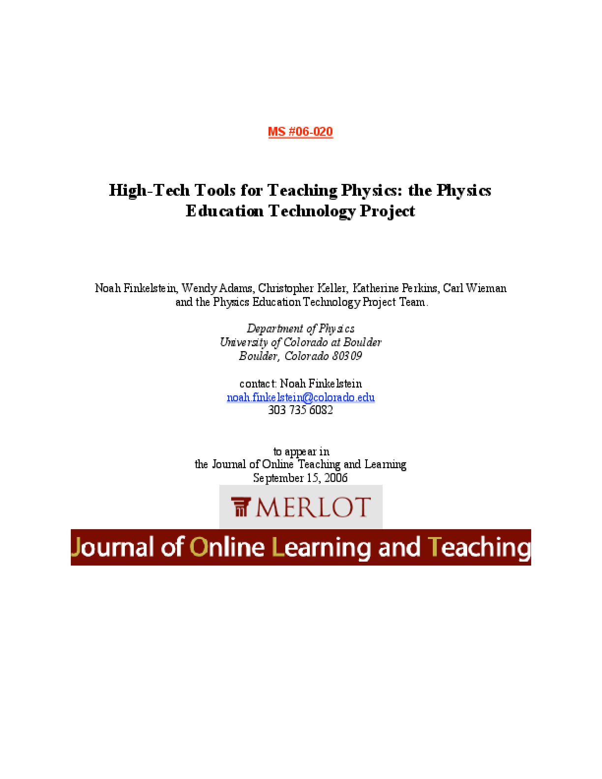 High-Tech Tools for Teaching Physics: the Physics Education Technology Project