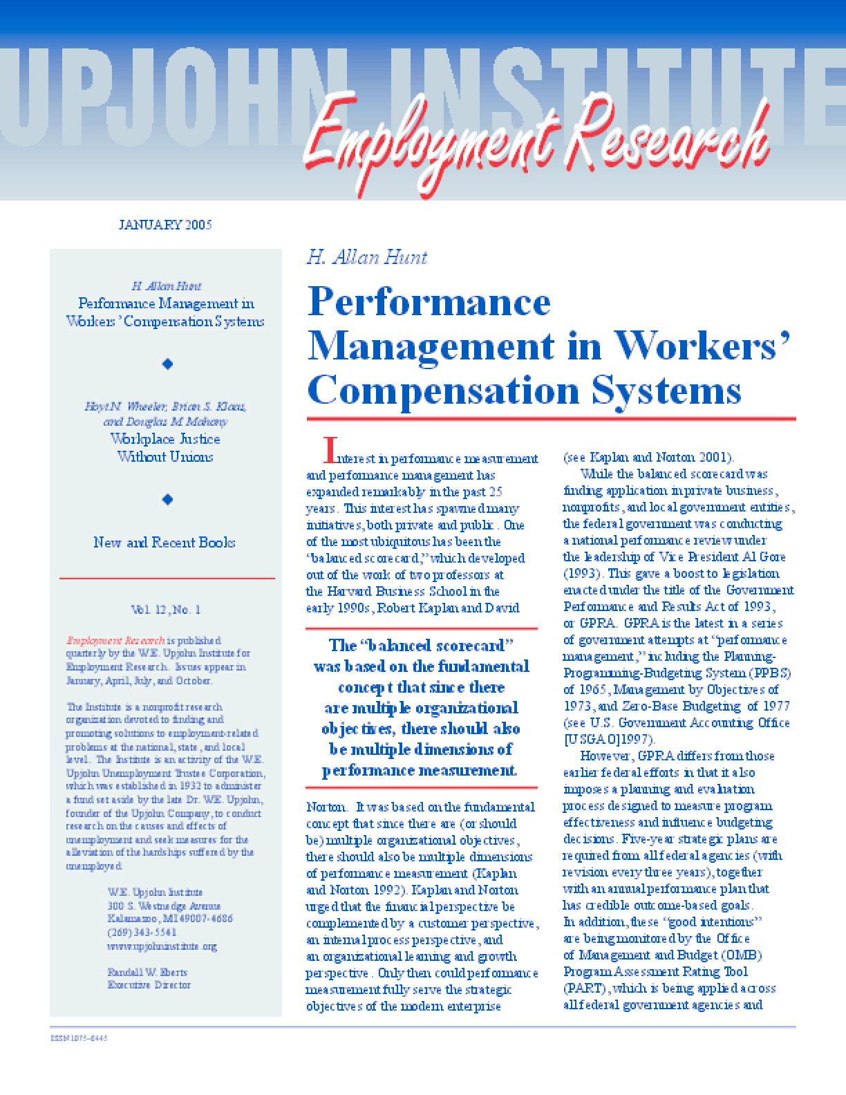 Performance Management in Workers' Compensation Systems