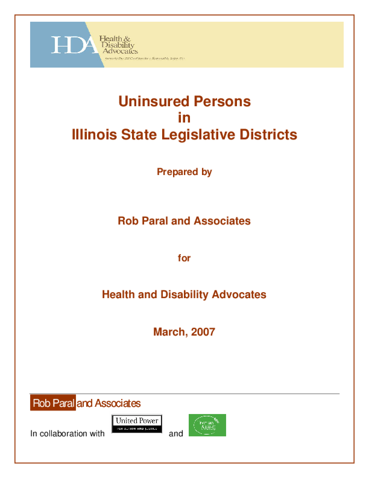Uninsured Persons in Illinois Legislative Districts