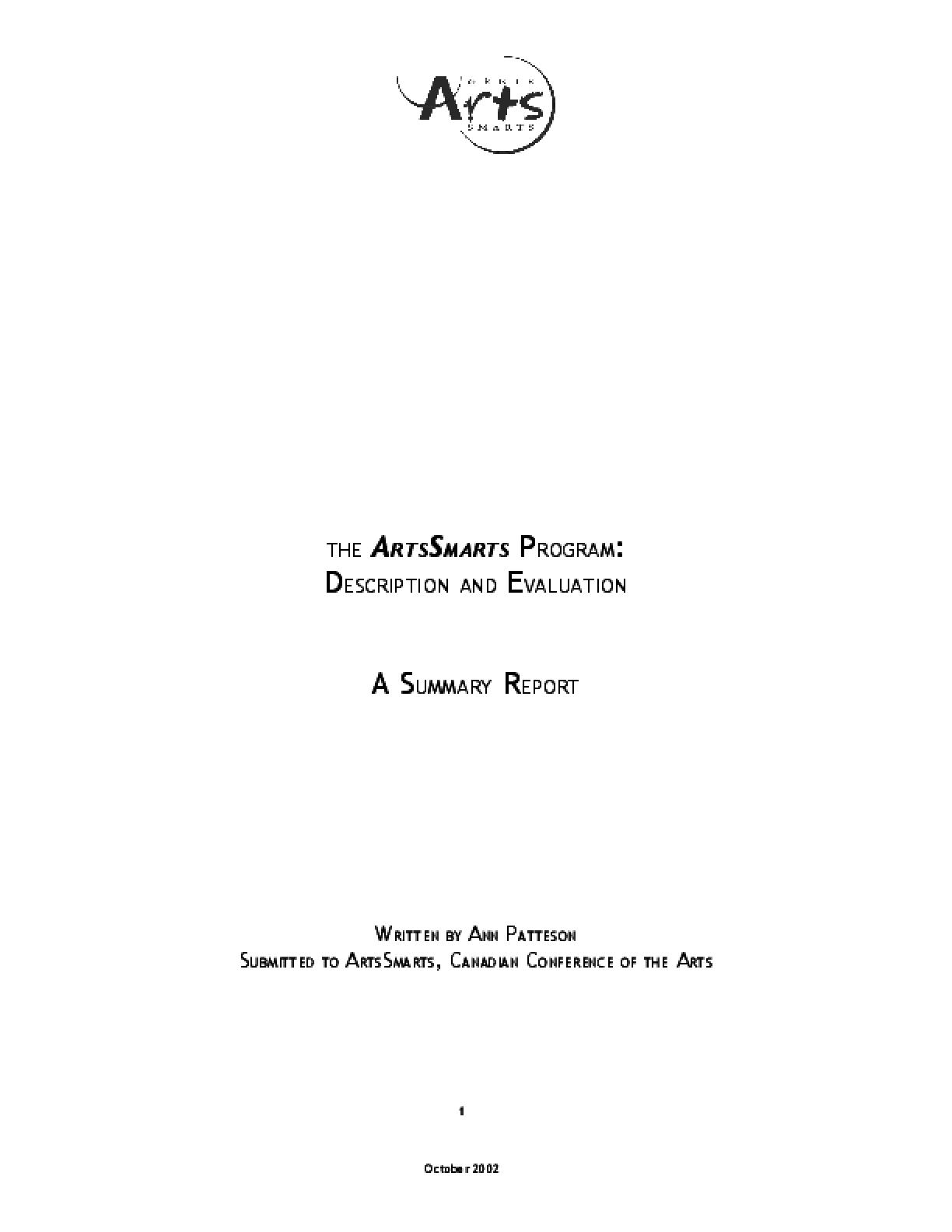 The ArtsSmarts Program: Description and Evaluation