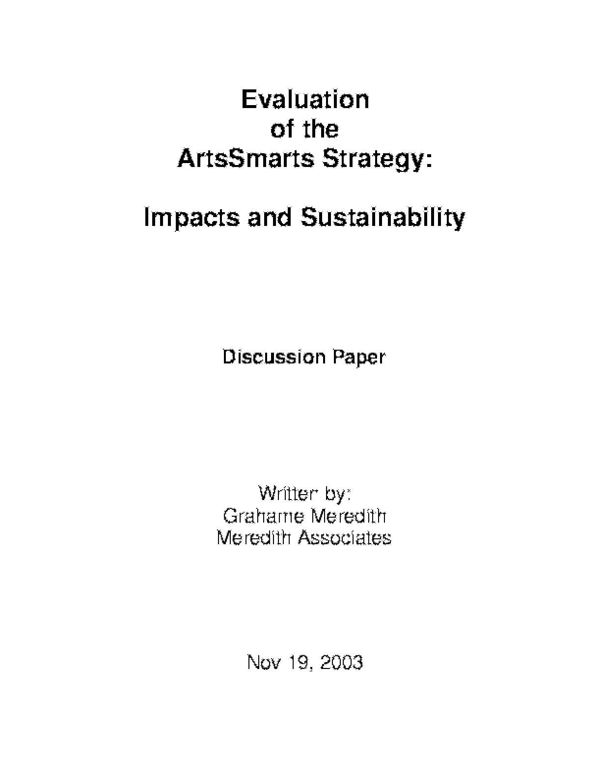 Evaluation of the ArtsSmarts Strategy: Impacts and Sustainability