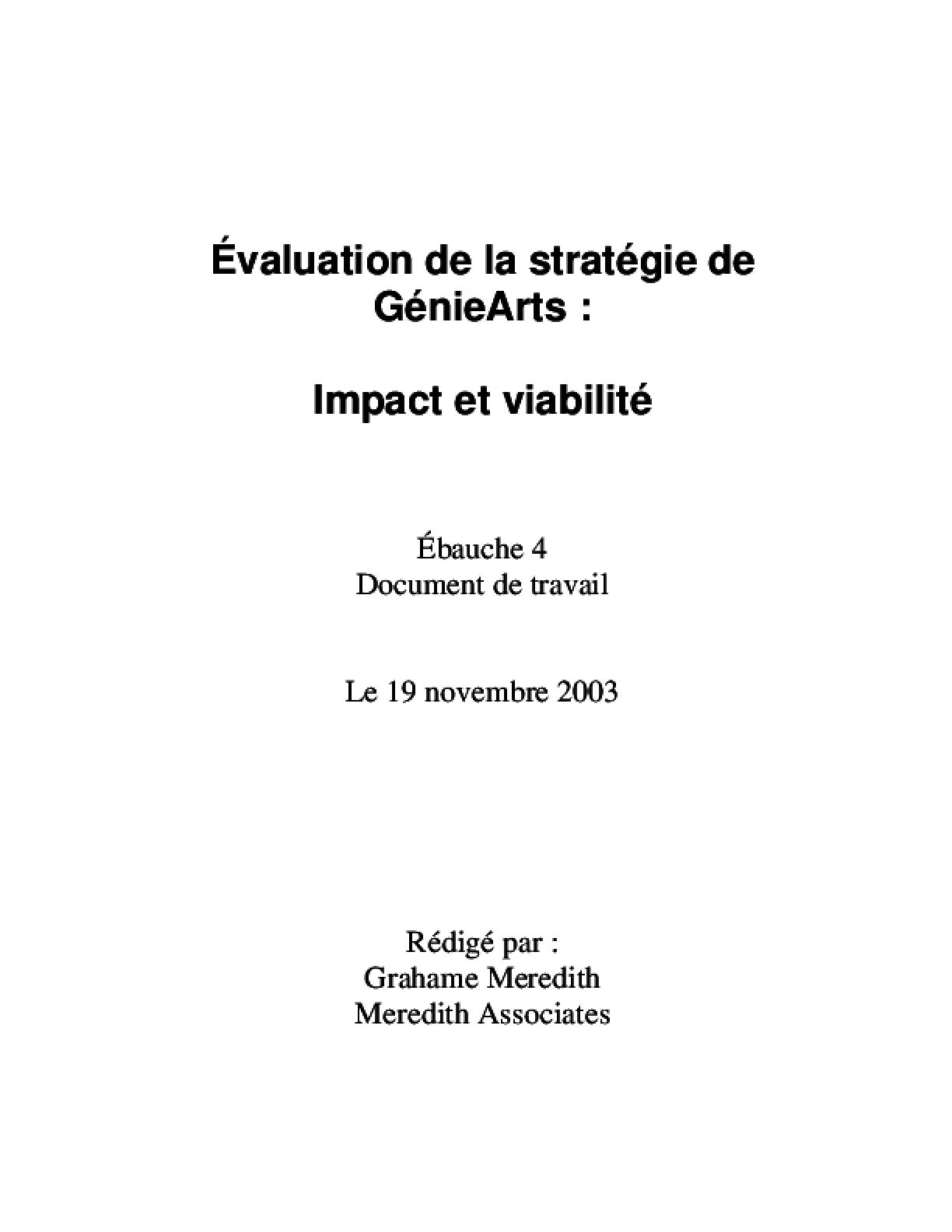 Evaluation de la strategie de GenieArts: Impact et viabilite