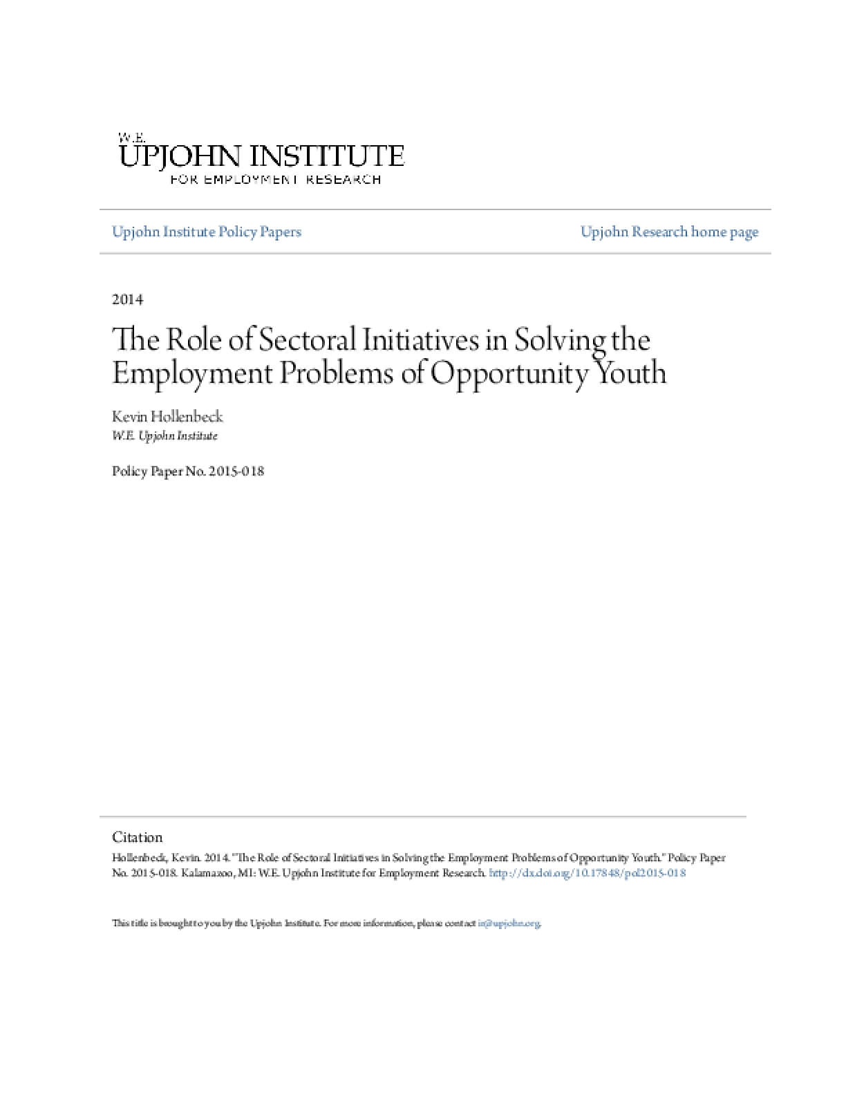 The Role of Sectoral Initiatives in Solving the Employment Problems of Opportunity Youth