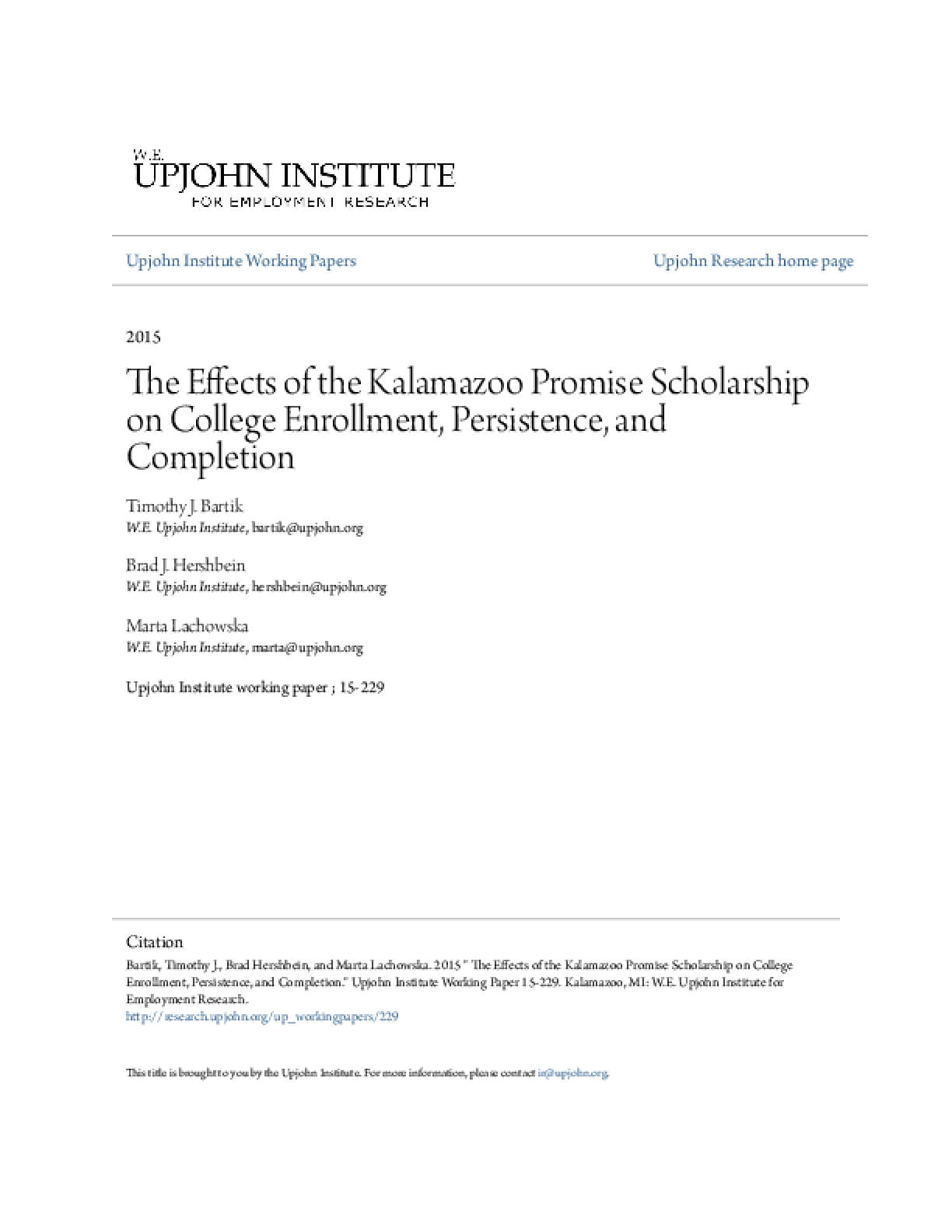 The Effects of the Kalamazoo Promise Scholarship on College Enrollment, Persistence, and Completion