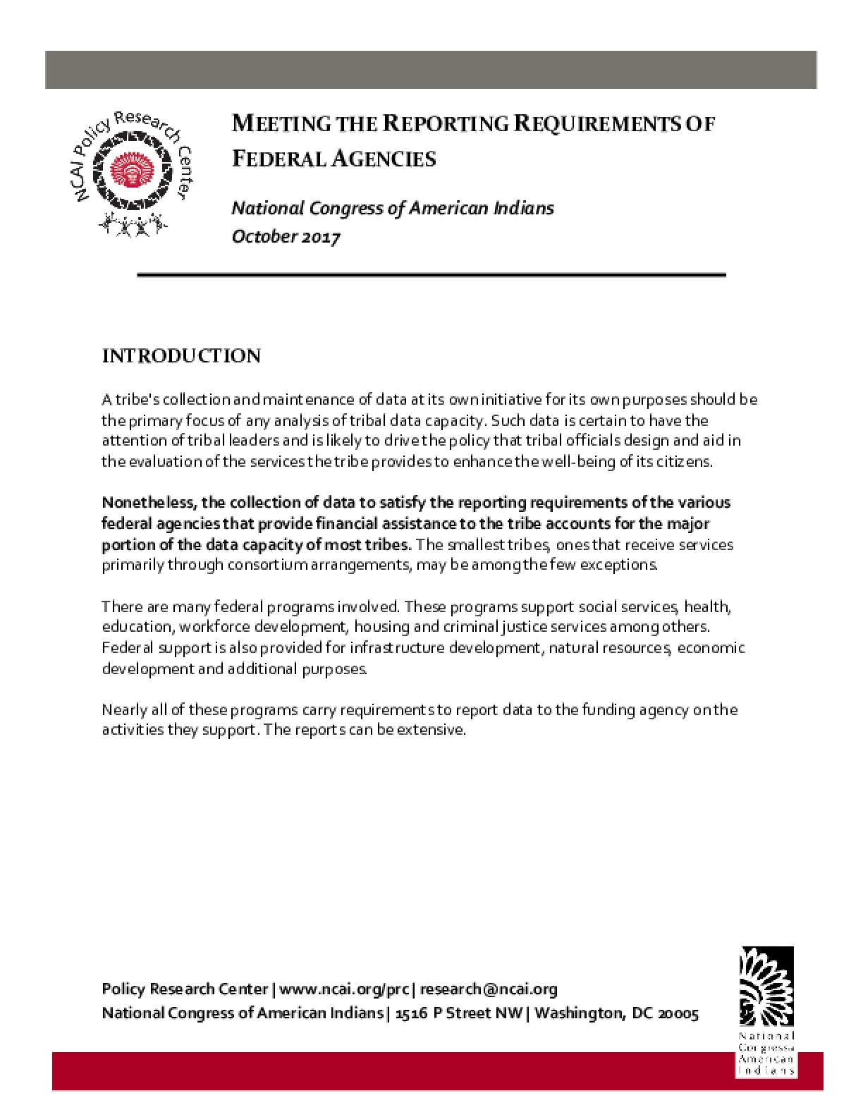 Meeting the Reporting Requirements of Federal Agencies