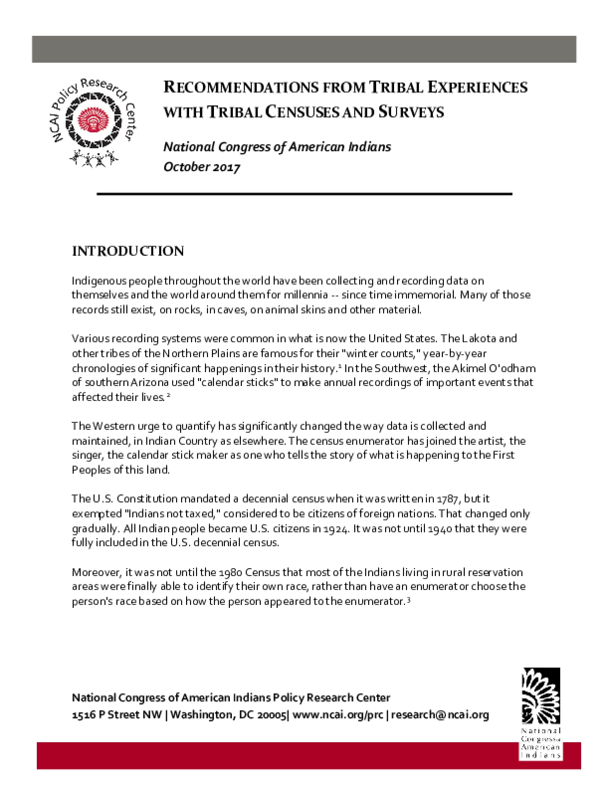 Recommendations from Tribal Experiences with Tribal Censuses and Surveys