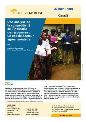 Une Analyse De La Compétitivité De L'industrie Camerounaise : Le Cas Du Secteur Agroalimentaire