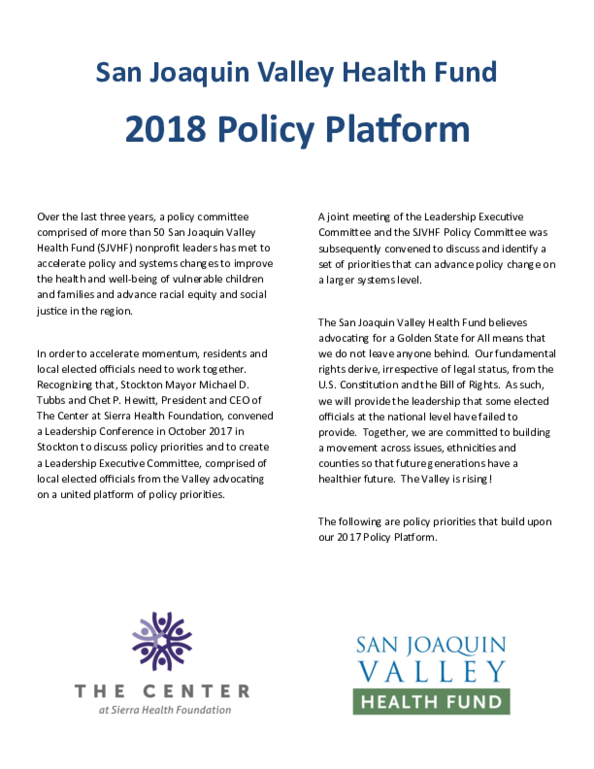 San Joaquin Valley Health Fund: 2018 Policy Platform
