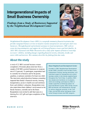 Intergenerational Impacts of Small Business Ownership: Findings from a Study of Businesses Supported by the Neighborhood Development Center